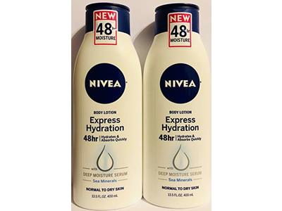 Nivea Body Lotion Express Hydration With Sea Minerals - Net Wt. 13.5 FL OZ - Pack of 2 Bottles