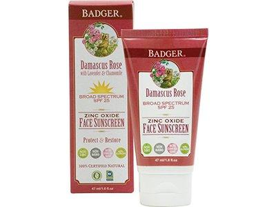 Badger Damascus Rose Face Sunscreen Lotion, SPF25, 1.6 oz
