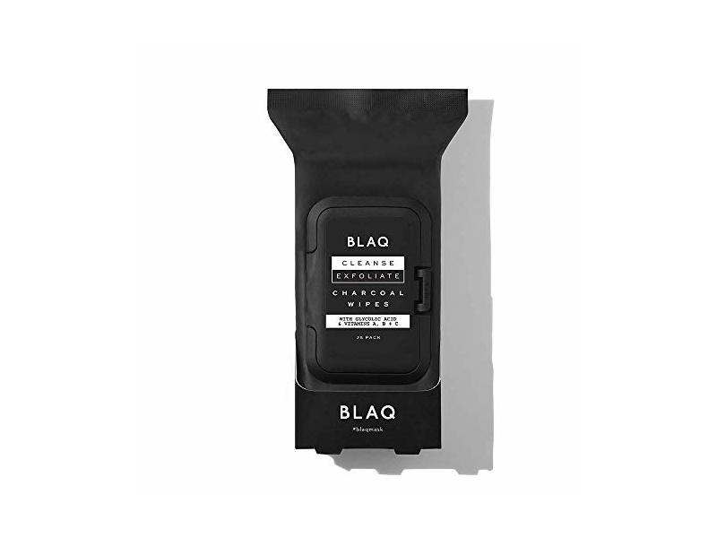 BLAQ Activated Charcoal Face Wipes, 25 Count
