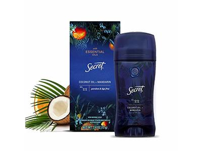 Secret Invisible Solid with Essential Oils Antiperspirant, No. 22 Coconut Oil + Mandarin, 2.6 oz