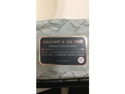 Live Green Coconut & Tea Tree Organic Cleansing Wipes, 60 wipes