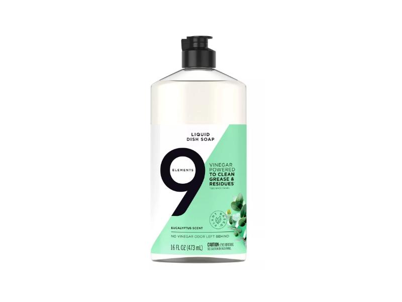 9 Elements Liquid Dish Soap, Eucalyptus Scent, 16 fl oz/473 mL