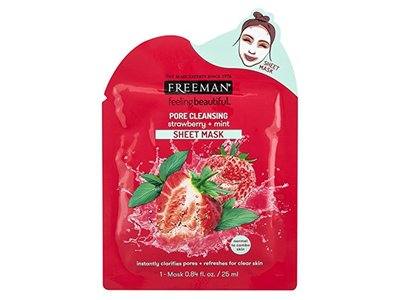 Freeman Feeling Beautiful Facial Pore Cleansing Strawberry + Mint Sheet Mask, 1 Mask 0.84 fl oz