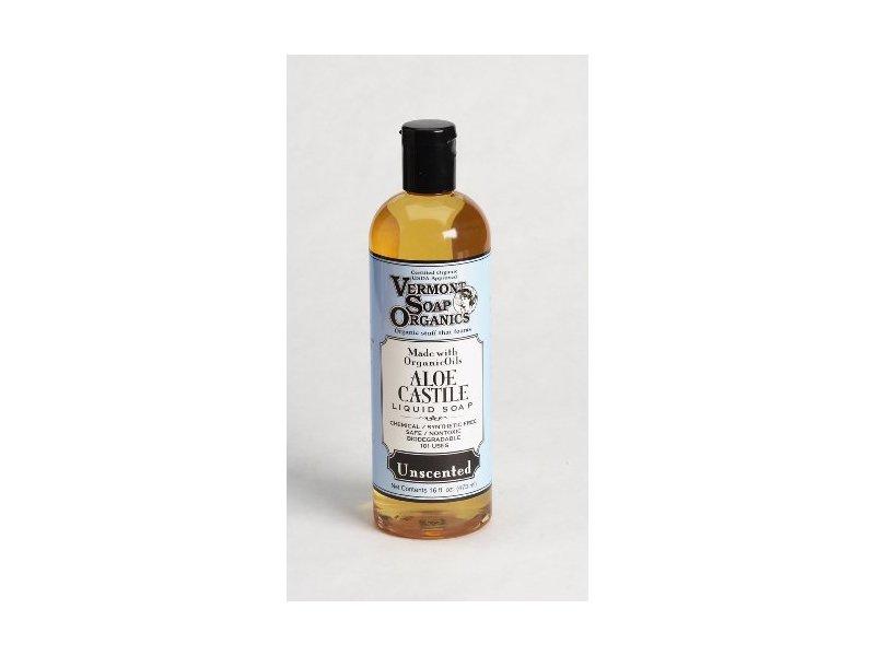 Vermont Soap Organics Liquid Aloe Castile Soap, Unscented, 16oz