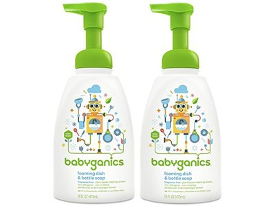 Babyganics Dish Dazzler Foaming Dish and Bottle Soap, Fragrance Free, 16 Fluid Ounce