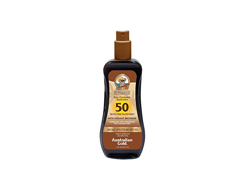 Australian Gold Spray Gel Sunscreen with Instant Bronzer, SPF 50, 8 Ounce