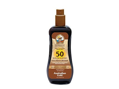 Australian Gold Spray Gel Sunscreen with Instant Bronzer, SPF 50, 8 Ounce