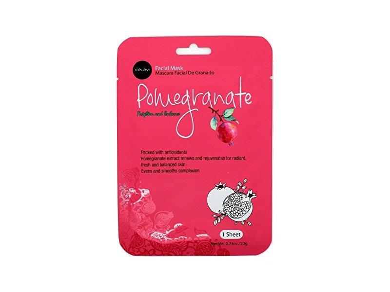 Celavi Essence Facial Mask Paper Sheet Korea Skin Care Moisturizing, Pomegranate, 12 Pack