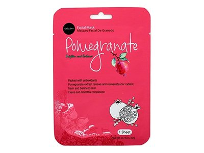Celavi Essence Facial Mask Paper Sheet Korea Skin Care Moisturizing, Pomegranate, 12 Pack