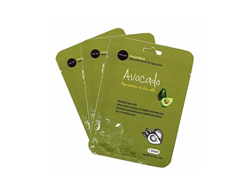 Celavi Essence Facial Mask Paper Sheet Korea Skin Care Moisturizing, Avocado, 12 Pack