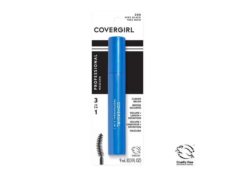 CoverGirl 3-In-1 Curved Brush Mascara, 200 Very Black, 0.3 fl oz/9 mL