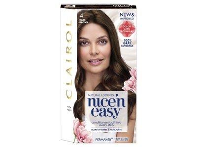 Clairol Nice 'n Easy Permanent Hair Color, 4 Dark Brown, Pack Of 2