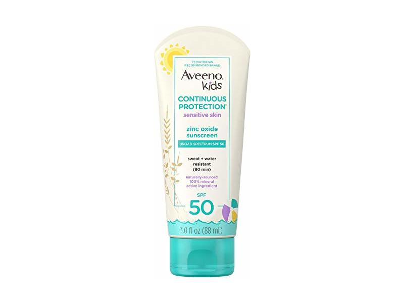 Aveeno Kids Continuous Protection Zinc Oxide Mineral Sunscreen Lotion for Children's Sensitive Skin SPF 50 3 oz
