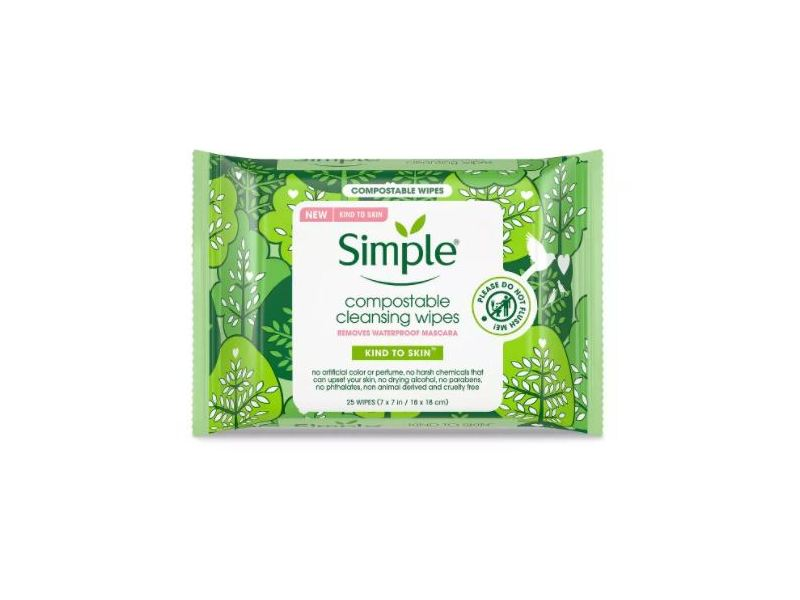 Simple Compostable Cleansing Wipes, 25 ct