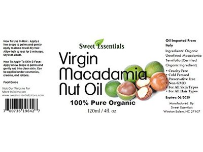 Sweet Essentials 100% Pure Cold Pressed Organic Virgin / Unrefined Macadamia Nut Oil - Image 3