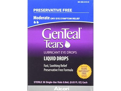 GenTeal Tears Lubricant Eye Drops, Moderate Liquid Drops, 36 Sterile, Single-Use Vials, 0.9 ml