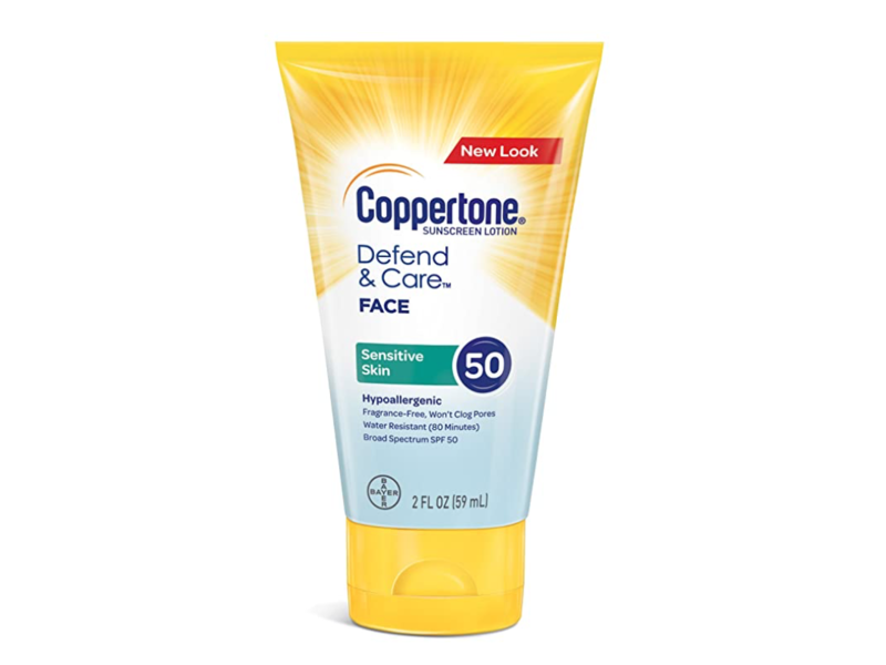 Coppertone Defend & Care Sensitive Skin Sunscreen Face, SPF 50, 2 fl oz