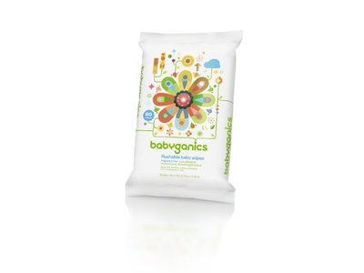 BabyGanics Flushable Wipes, Thick N Kleen, 60 Count