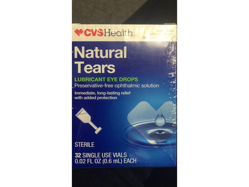 cvs health natural tears lubricant eye drops  0 02 fl oz