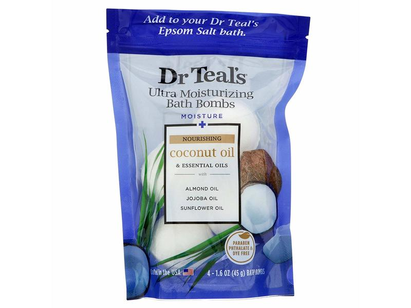 Dr Teal's Ultra Moisturizing Bath Bombs, Nourishing Coconut & Essential Oils, 4 count