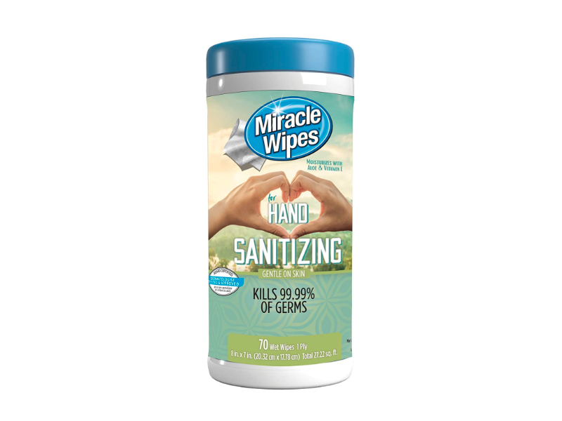 Miracle Wipes Hand Sanitizing, 70 Ct