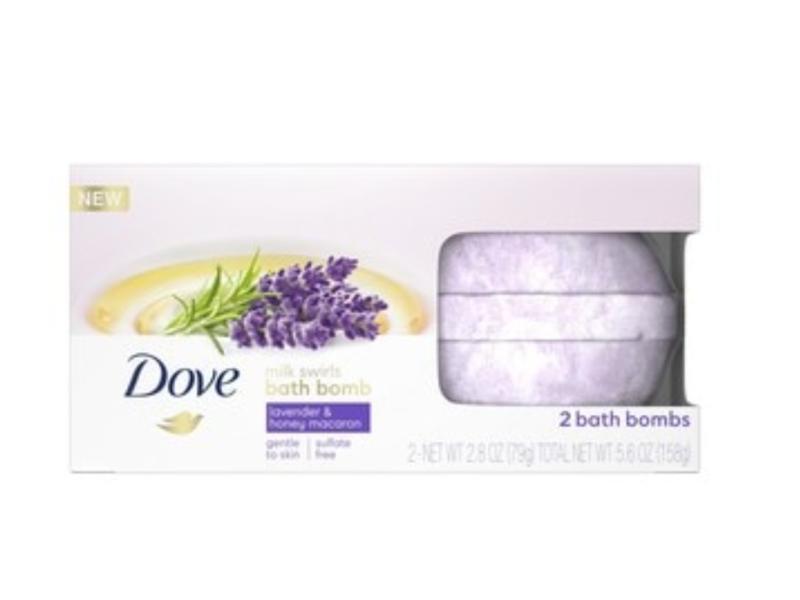 Dove Milk Swirls Bath Bombs Lavender & Honey Macaron