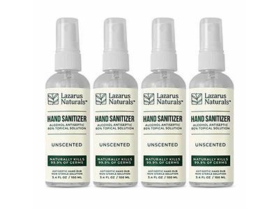 Lazarus Naturals Hand Sanitizer Spray, Unscented, 3.4 oz