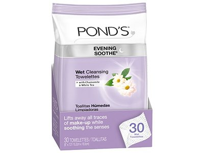 Pond's Evening Soothe Wet Cleansing Towelettes with Chamomile and White Tea, 30 Count