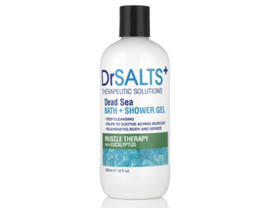 Dr.Salts + Therapeutic Solutions Bath + Shower Gel, Dead Sea Muscle Therapy With Eucalyptus, 11.8 fl oz