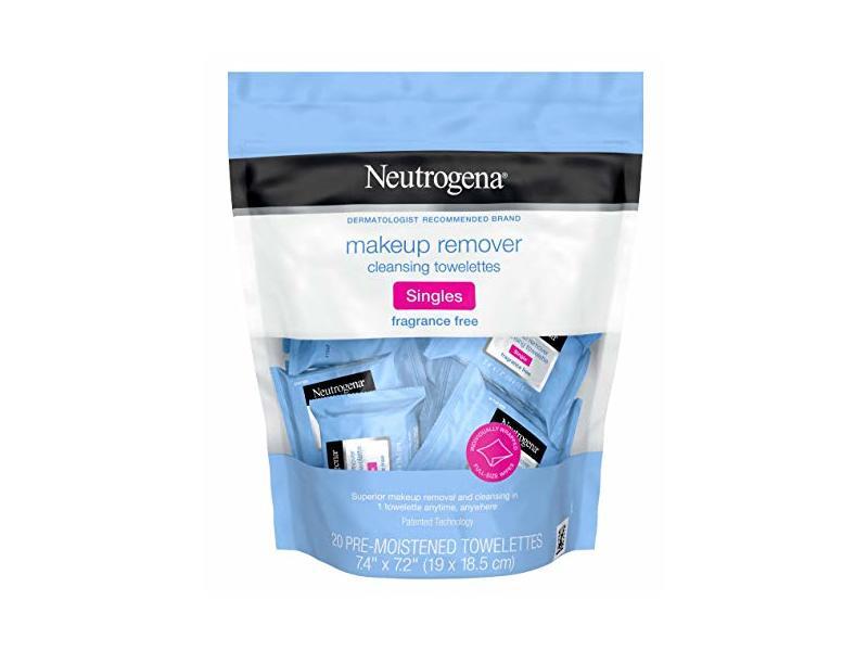 Neutrogena Make-Up Remover Toweltte Singles 20 Count No Fragrance (Pack of 3)