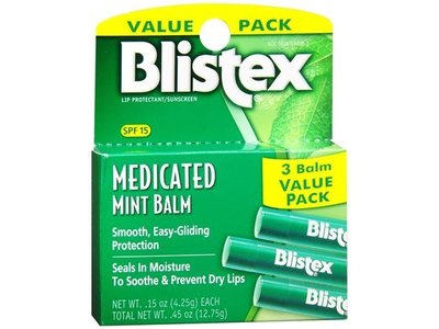 Blistex Medicated Mint Lip Balm, 3 pack