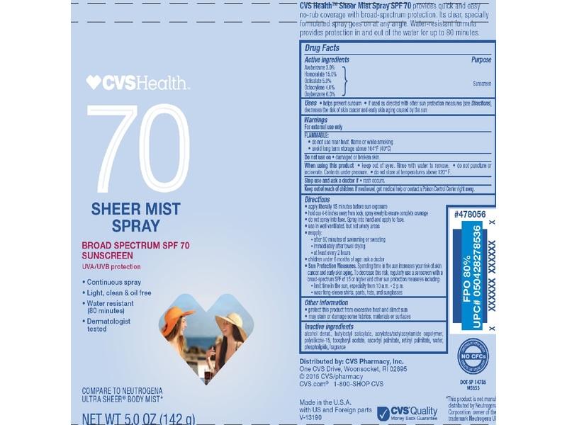 CVS Health 70 Sheer Mist Spray Sunscreen