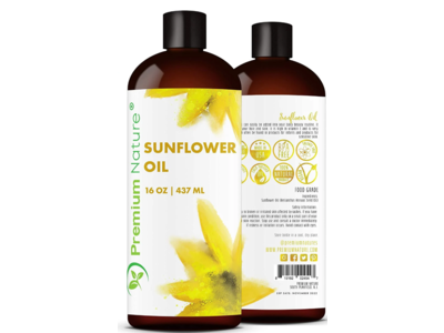 Premium Nature Sunflower Seed Oil, 16 oz / 453 ml