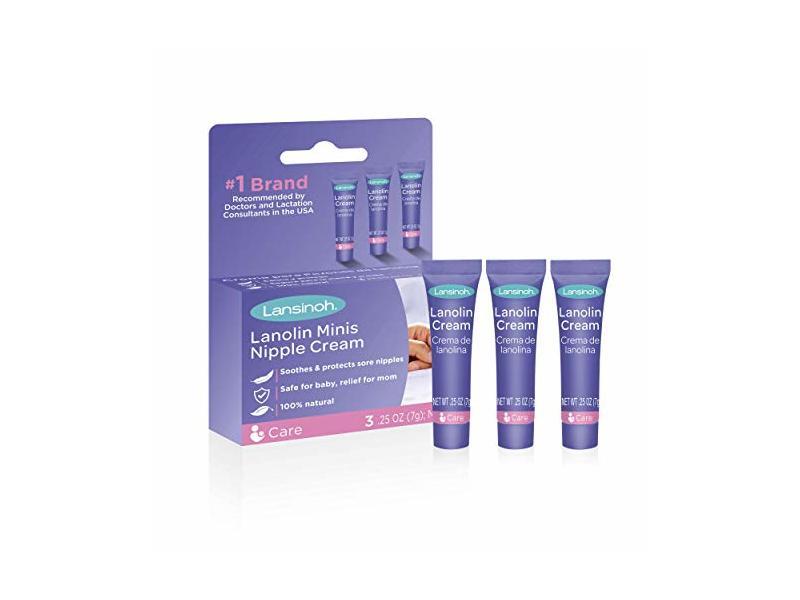 Lansinoh HPA Lanolin Minis Nipplecream, 3 Mini Tubes, 0.25 oz