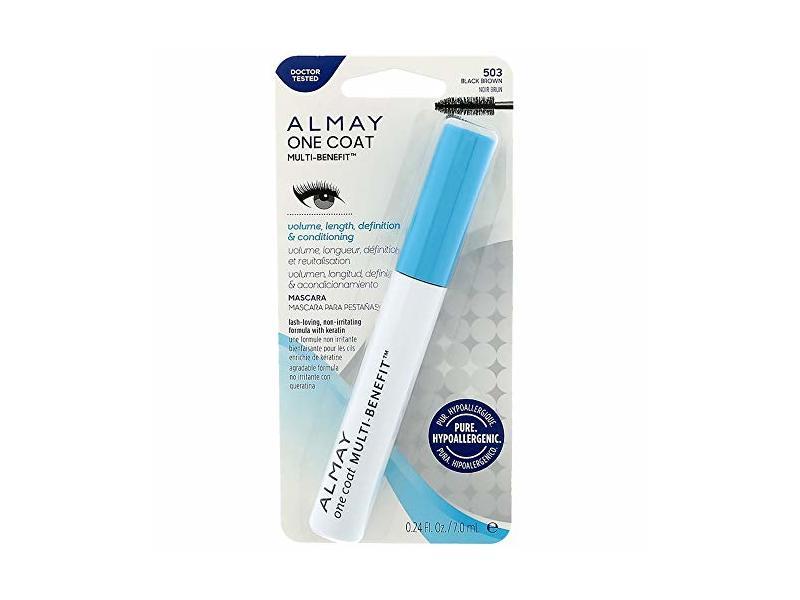 Almay One Coat Multi-Benefit Mascara, 503 Black Brown, 0.24 fl oz/ 7 mL, Pack Of 2