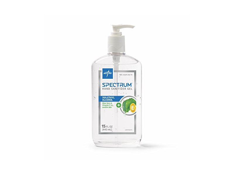 Medline Spectrum Gel Hand Sanitizer, with Aloe & Vitamin E, 15 oz