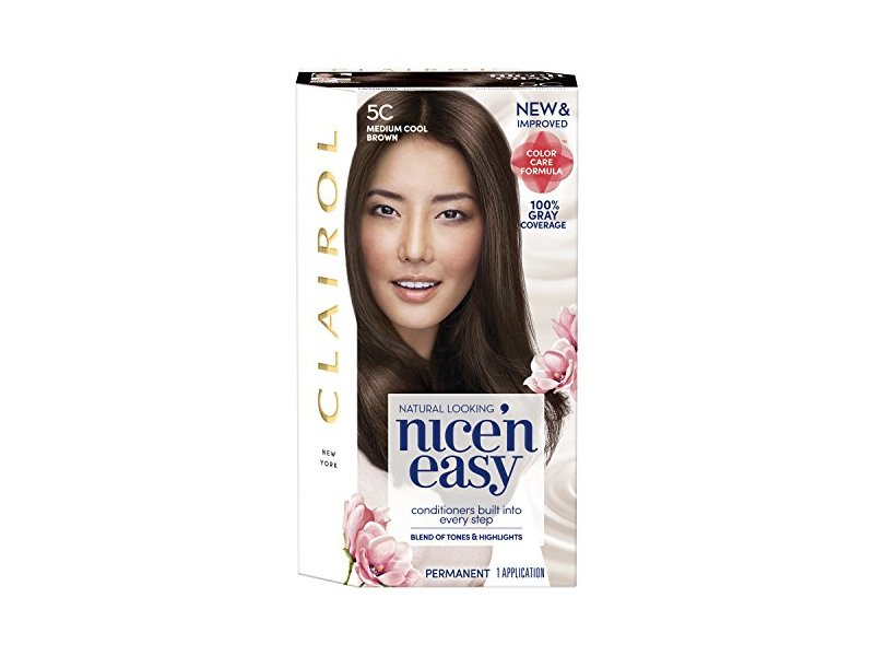 Clairol Nice'n Easy Permanent Hair Color, 5C Medium Cool Brown, 1 application