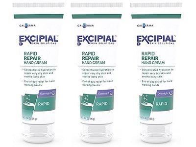Excipial Rapid Repair Overnight Hand Cream, 3.4 Ounce, (Pack of 3)