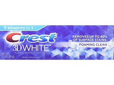 Crest 3D White Foaming Clean Whitening Toothpaste, 3.5 oz