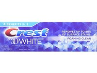 Crest 3D White Foaming Clean Whitening Toothpaste, 3.5 oz - Image 2