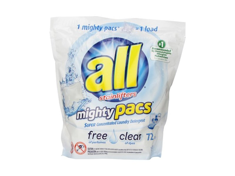 All Free Clear Mighty Pacs Laundry Detergent with Stainlifters, 72 Count