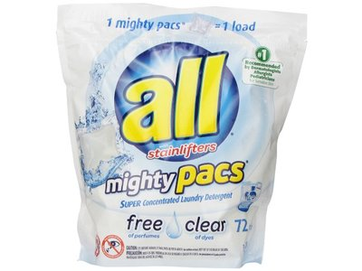 All Free Clear Mighty Pacs Laundry Detergent with Stainlifters, 72 Count - Image 1