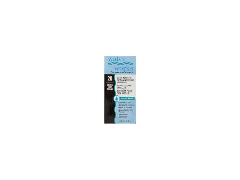 Water Works Water Activated Permanent Powder Hair Color, #20 Black, 0.2 oz.