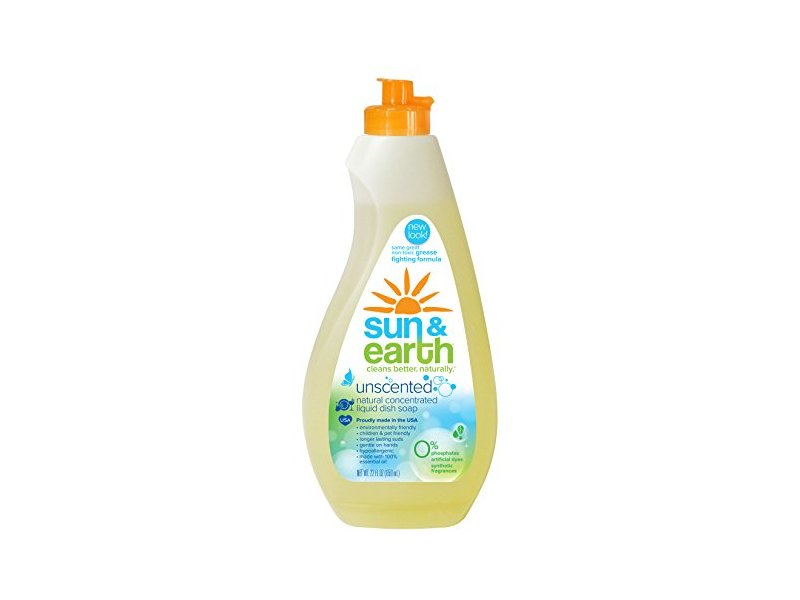 Sun & Earth Natural Concentrated Liquid Dish Soap, Unscented, 22 fl oz