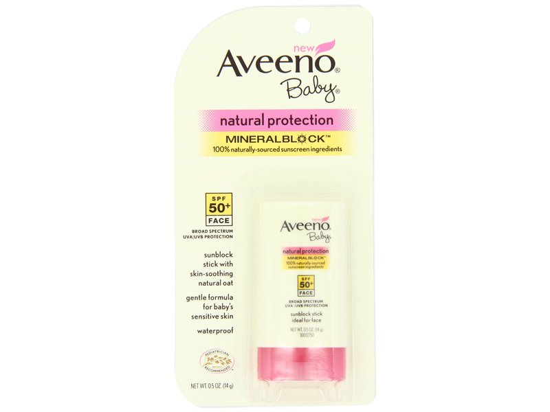 Aveeno baby natural protection face stick with broad spectrum spf 50, johnson & johnson