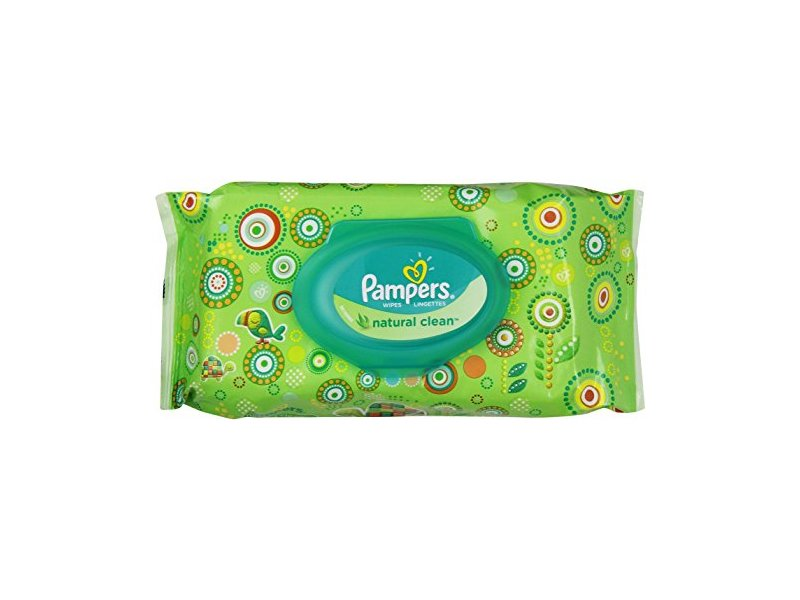 Pampers Natural Clean Wipes, Travel Pack, 64 ct