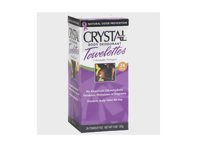 Crystal Body Deodorant Towelettes, Unscented, 24 pack - Image 1