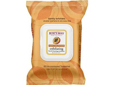 Burt's Bees Facial Cleansing Towelettes, Peach and Willow Bark -- 25 Towelettes
