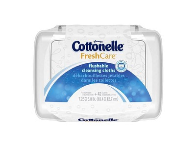 Cottonelle Fresh Care Flushable Cleansing Cloths, 42 Count (Pack of 2)
