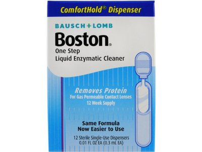 Boston One Step Liquid Enzymatic Lens Cleaner, (0.3 ml EA) 12 Count - Image 1